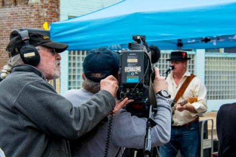 Lou and Michael filming Mark Massey in Clarksdale.