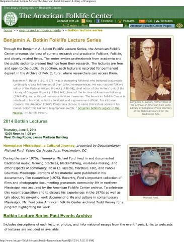 Library of Congress- Botkin Lecture, June 5th. Mississippi